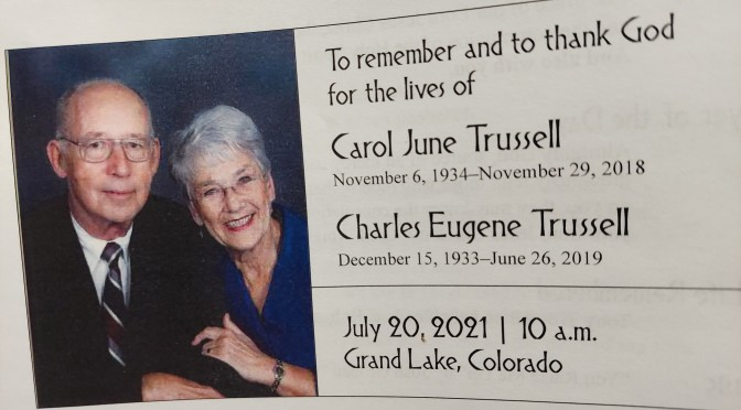 A Celebration of Life for Carol and Charlie – John 2:1-11 and Romans 8:35, 37-39